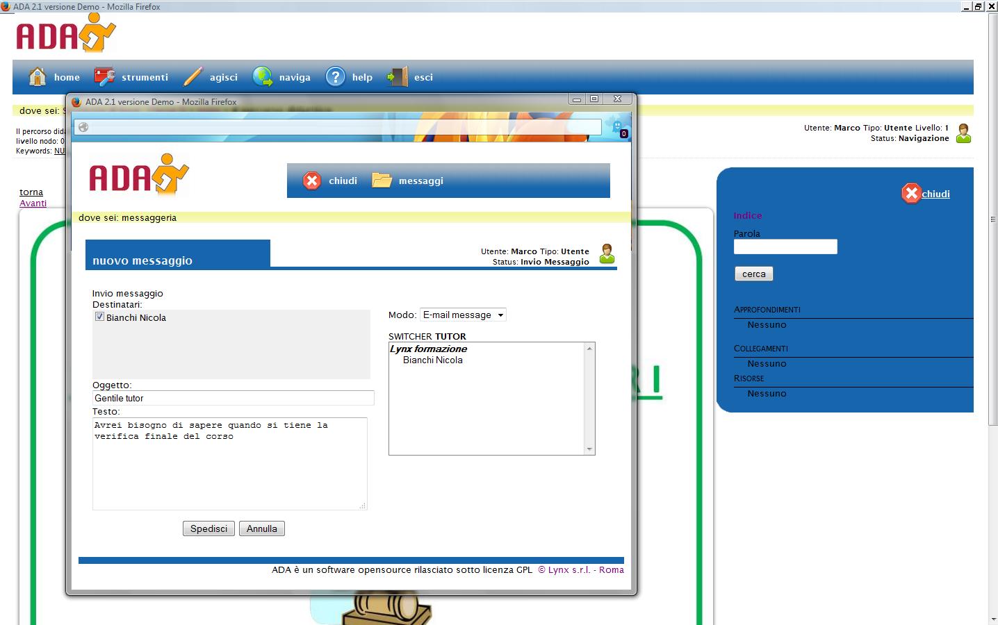 ADA – um Ambiente Virtual de Aprendizagem livre made in Italy